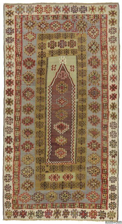 "Purple, Green Antique Yahyali Kilim Rug - 4' 1"" x 7' 7"" (49 in. x 91 in.)"
