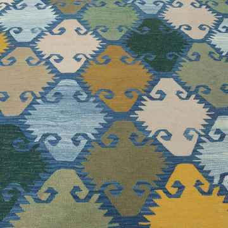 Blue, Green New Handwoven Turkish Kilim Rug - K0010404