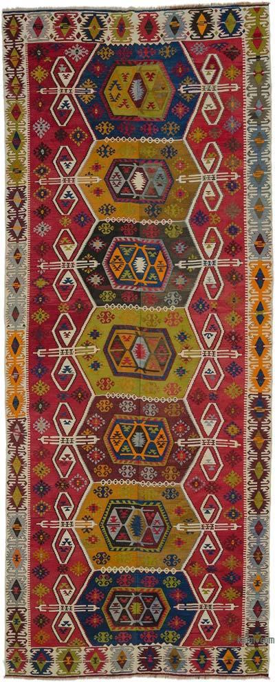 """Vintage Taspinar Kilim Rug - 5' 7"""" x 13' 9"""" (67 in. x 165 in.)"""