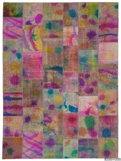 "Over-dyed Turkish Patchwork Rug - 9'11"" x 13'5"" (119 in. x 161 in.)"