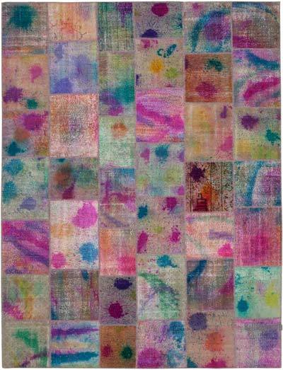 "Over-dyed Turkish Patchwork Rug - 10'1"" x 13'3"" (121 in. x 159 in.)"