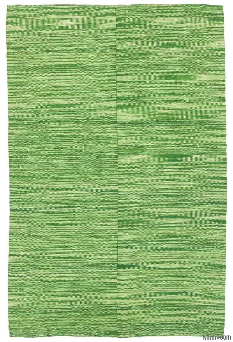 """Green Neo Caspian Kilim Rug - 6' 8"""" x 10'  (80 in. x 120 in.) - K0010502"""