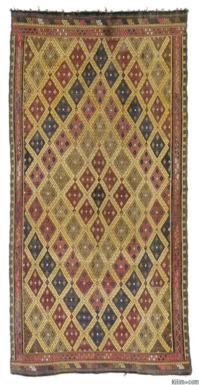 "Vintage Turkish Jijim Rug - 5'4"" x 10'3"" (64 in. x 123 in.)"