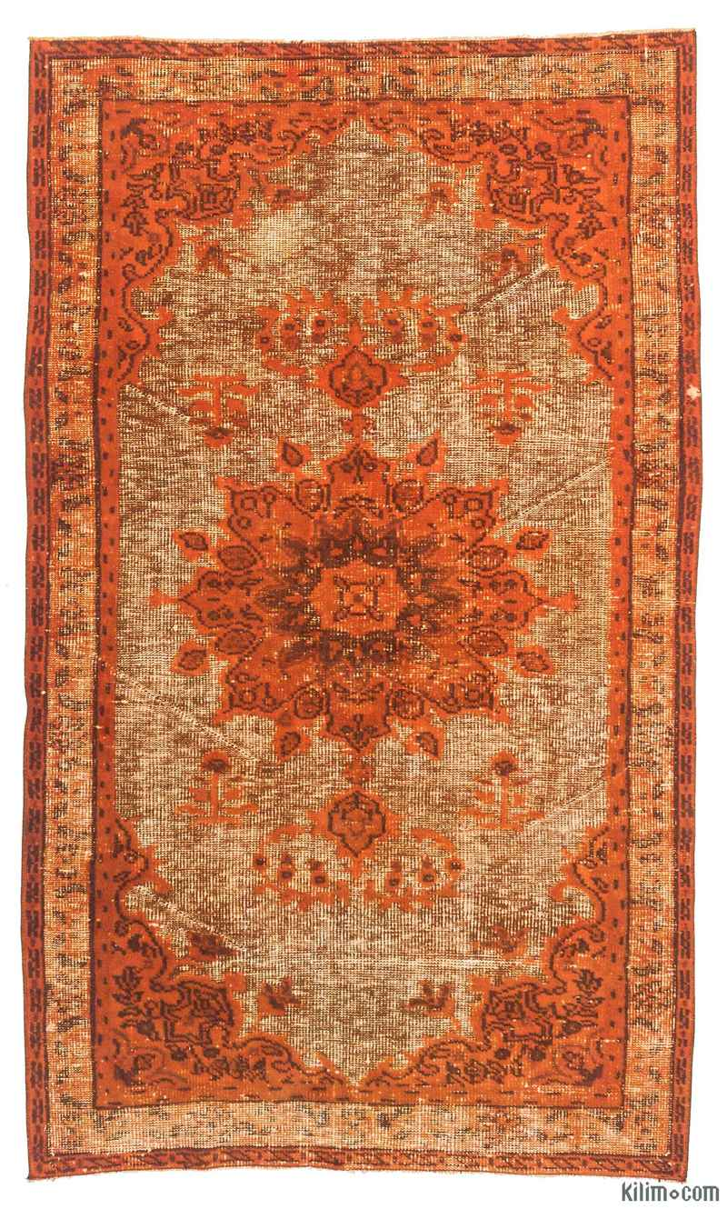 """Orange Hand Carved Over-Dyed Rug - 3' 11"""" x 6' 8"""" (47 in. x 80 in.) - K0010620"""