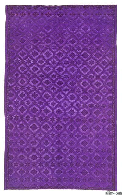 "Purple Hand Carved Over-Dyed Rug - 5' 9"" x 9' 3"" (69 in. x 111 in.)"