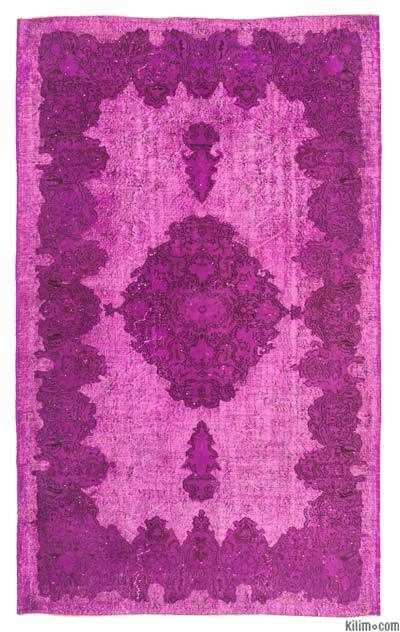 "Pink Hand Carved Over-Dyed Rug - 5' 8"" x 9' 3"" (68 in. x 111 in.)"