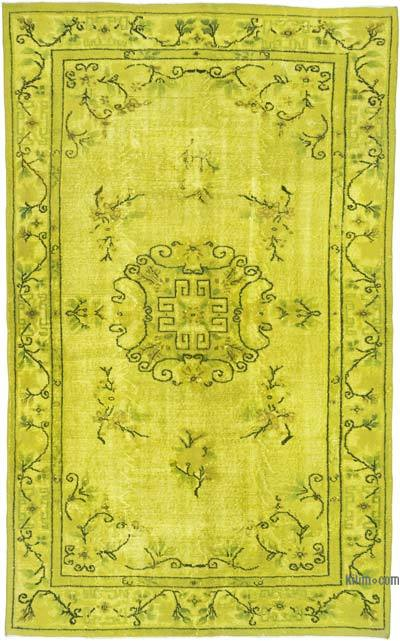 """Hand Carved Over-Dyed Rug - 5' 9"""" x 9' 5"""" (69 in. x 113 in.)"""