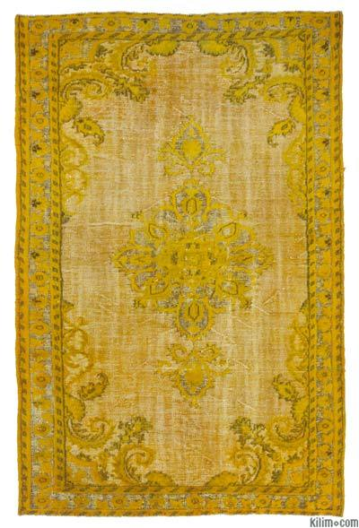 "Yellow Hand Carved Over-Dyed Rug - 5' 8"" x 8' 9"" (68 in. x 105 in.)"