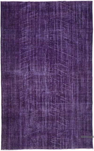 Púrpura Alfombra Turca Vintage Sobre-teñida