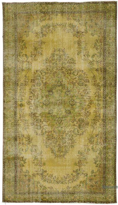 """Yellow Over-dyed Turkish Vintage Rug - 5' 4"""" x 9' 5"""" (64 in. x 113 in.)"""