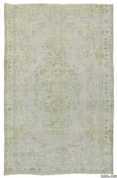 "Beige, Grey Over-dyed Turkish Vintage Rug - 5' 3"" x 8' 8"" (63 in. x 104 in.)"