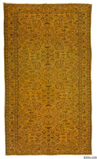 """Over-dyed Turkish Vintage Rug - 5' 1"""" x 9'  (61 in. x 108 in.)"""