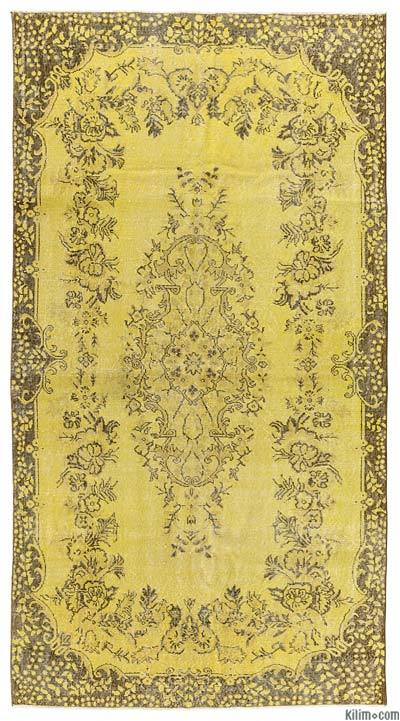 Boyalı El Dokuma Vintage Halı - 167 cm x 315 cm