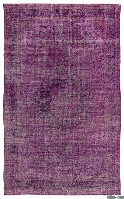 Boyalı El Dokuma Vintage Halı - 201 cm x 334 cm