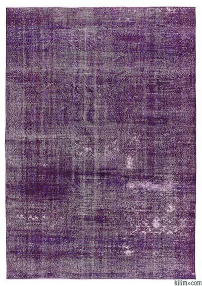 """Over-dyed Turkish Vintage Rug - 7'3"""" x 10'7"""" (87 in. x 127 in.)"""