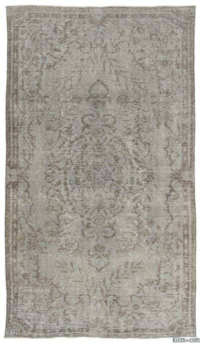"""Grey Over-dyed Turkish Vintage Rug - 5' 8"""" x 9' 10"""" (68 in. x 118 in.)"""
