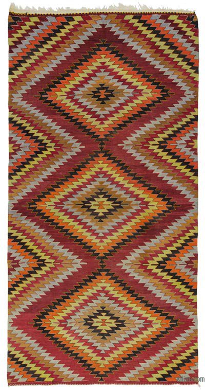 "Vintage Turkish Kilim Rug - 5' 8"" x 11' 5"" (68 in. x 137 in.)"