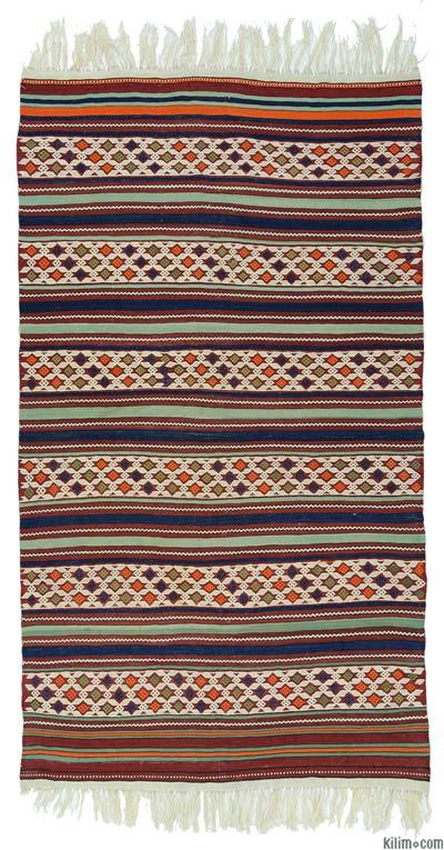"Antique Manisa Kilim - 4' 10"" x 8' 9"" (58 in. x 105 in.)"
