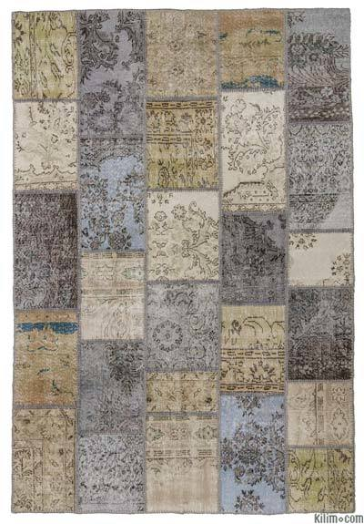"Over-dyed Turkish Patchwork Rug - 6'1"" x 9' (73 in. x 108 in.)"