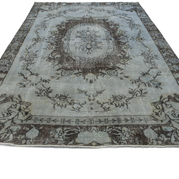 Grey Over-dyed Turkish Vintage Rug - 5' 7# x 9' 3# (67 in. x 111 in.) - K0013428