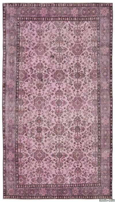 Boyalı El Dokuma Vintage Halı - 151 cm x 274 cm