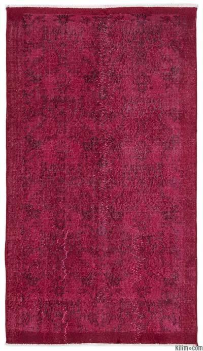 Boyalı El Dokuma Vintage Halı - 111 cm x 199 cm