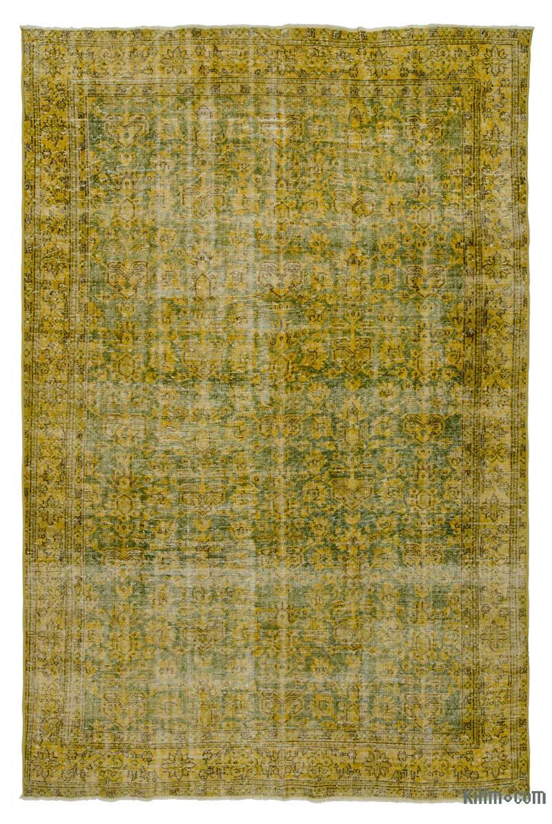 Yellow Over-dyed Turkish Vintage Rug - 6' 7# x 9' 10# (79 in. x 118 in.) - K0013913