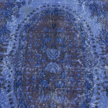 Blue Over-dyed Turkish Vintage Rug - 5' 11# x 9' 10# (71 in. x 118 in.) - K0013932