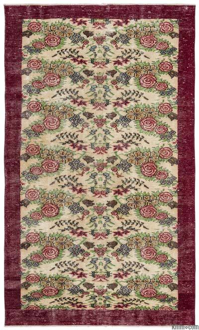 """Turkish Vintage Area Rug - 5'2"""" x 8'7"""" (62 in. x 103 in.)"""