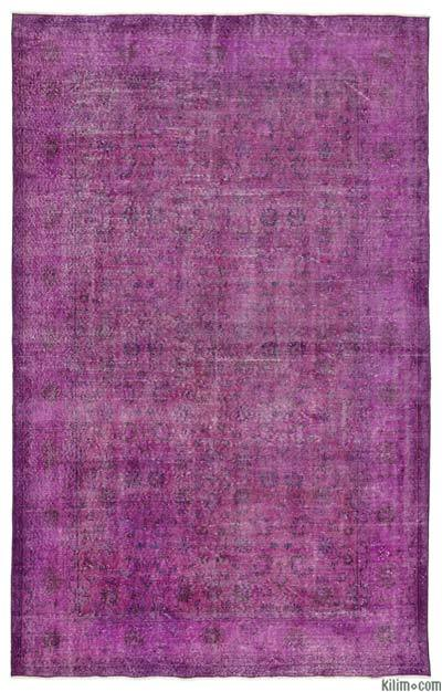 """Over-dyed Turkish Vintage Rug - 6'2"""" x 9'9"""" (74 in. x 117 in.)"""