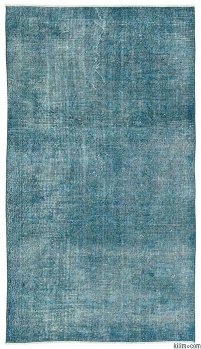 Boyalı El Dokuma Vintage Halı - 116 cm x 207 cm