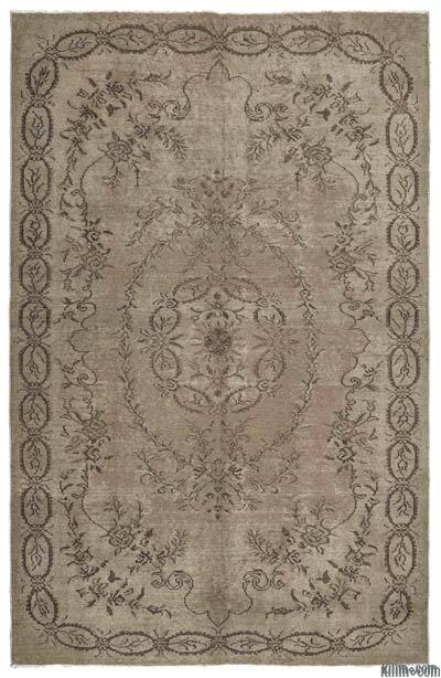 "Brown Over-dyed Turkish Vintage Rug - 6' 5"" x 10'  (77 in. x 120 in.)"