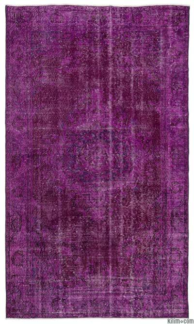 """Fuchsia Over-dyed Turkish Vintage Rug - 4' 9"""" x 8' 1"""" (57 in. x 97 in.)"""