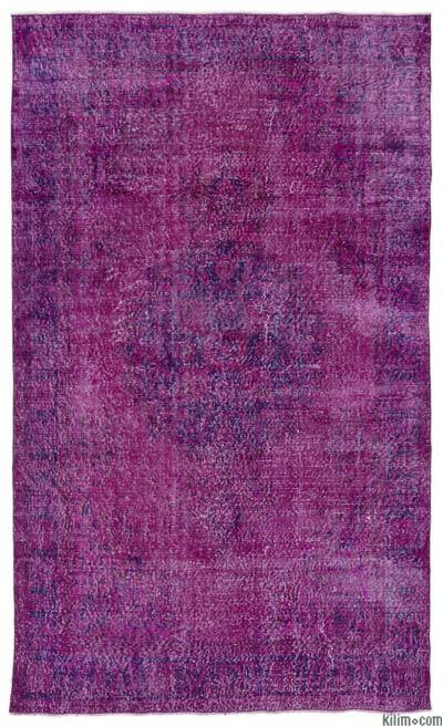 """Over-dyed Turkish Vintage Rug - 5' 5"""" x 8' 11"""" (65 in. x 107 in.)"""
