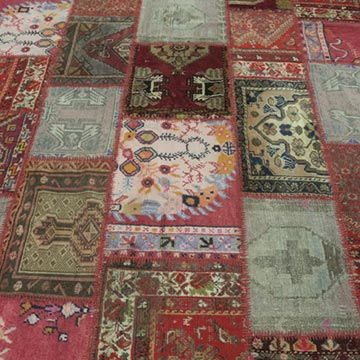"""Multicolor Patchwork Hand-Knotted Turkish Rug - 5' 10"""" x 7' 10"""" (70 in. x 94 in.) - K0015242"""