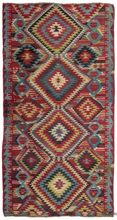 "Turkish Vintage Kilim Rug - 5'2"" x 9'10"" (62 in. x 118 in.)"