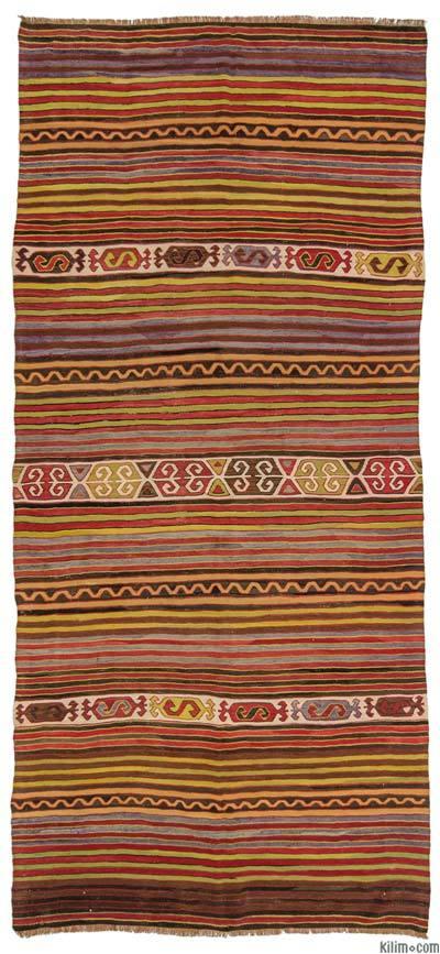 """Vintage Konya Kilim Rug - 4'9"""" x 10'6"""" (57 in. x 126 in.)"""