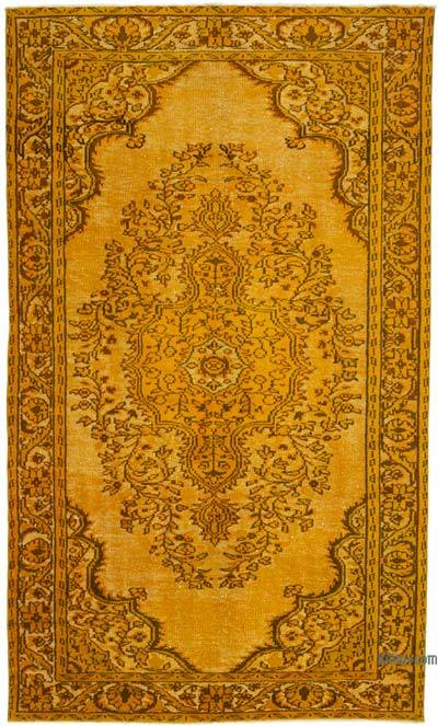 """Hand Carved Over-Dyed Turkish Vintage Rug - 5' 10"""" x 9' 9"""" (70 in. x 117 in.)"""