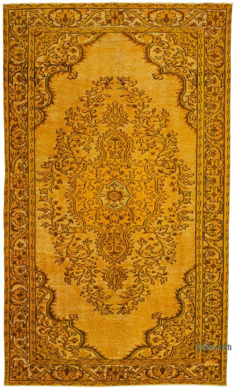 "Orange Hand Carved Over-Dyed Turkish Vintage Rug - 5' 10"" x 9' 9"" (70 in. x 117 in.) - K0015833"