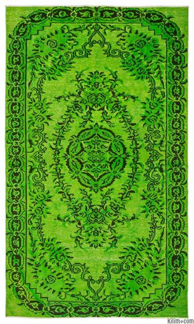 """Hand Carved Over-Dyed Turkish Vintage Rug - 5' 3"""" x 8' 10"""" (63 in. x 106 in.)"""