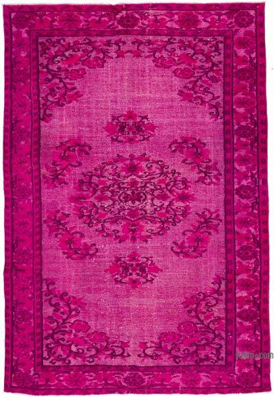 "Fuchsia Hand Carved Over-Dyed Turkish Vintage Rug - 5' 11"" x 8' 9"" (71 in. x 105 in.)"
