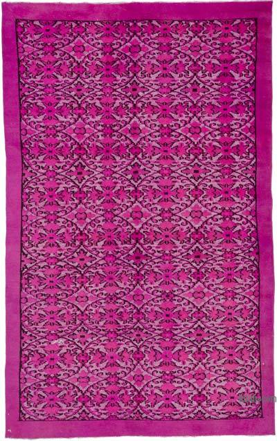 "Fuchsia Hand Carved Over-Dyed Turkish Vintage Rug - 6' 2"" x 9' 8"" (74 in. x 116 in.)"