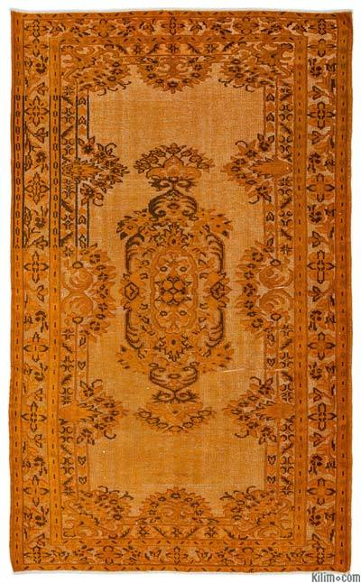 """Hand Carved Over-Dyed Turkish Vintage Rug - 5' 10"""" x 9' 6"""" (70 in. x 114 in.)"""