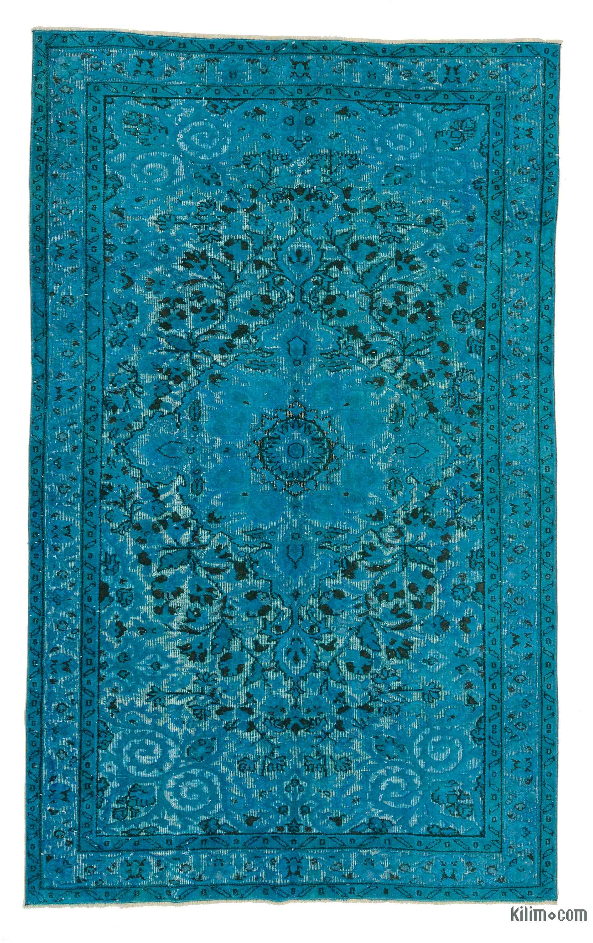 Turquoise Hand Carved Over Dyed Rug