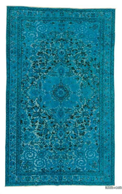 """Hand Carved Over-Dyed Turkish Vintage Rug - 5' 4"""" x 8' 8"""" (64 in. x 104 in.)"""