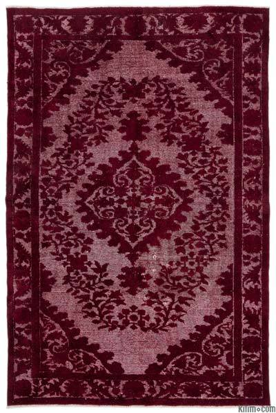"Hand Carved Over-Dyed Turkish Vintage Rug - 5' 10"" x 8' 10"" (70 in. x 106 in.)"