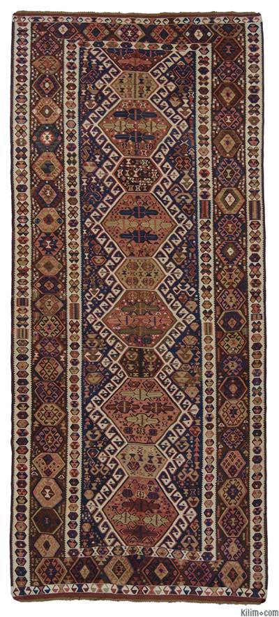 "Blue Antique Kagizman Kilim Rug - 5' 7"" x 12' 11"" (67 in. x 155 in.)"