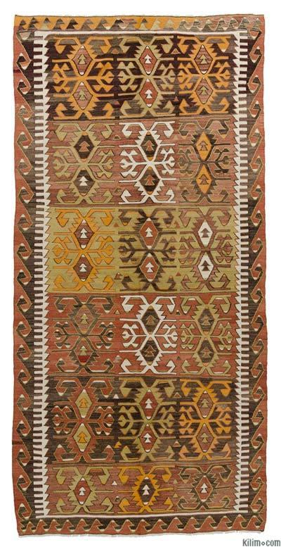"""Vintage Konya Kilim Rug - 5'2"""" x 10'8"""" (62 in. x 128 in.)"""