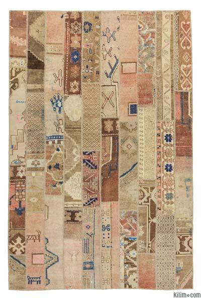 "Over-dyed Turkish Patchwork Rug - 6'7"" x 10' (79 in. x 120 in.)"