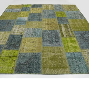 """Yellow, Grey Patchwork Hand-Knotted Turkish Rug - 8'  x 9' 10"""" (96 in. x 118 in.) - K0016076"""